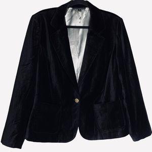 Velvet Black Single Button Oversized Blazer Coat